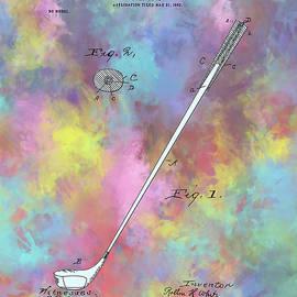 golf club patent drawing color - Bekim Art