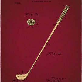 golf club patent drawing dark red 3 - Bekim Art