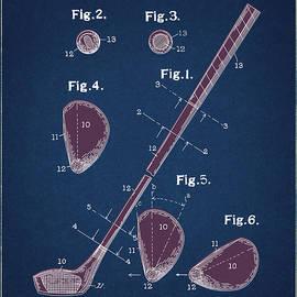 Bekim Art - golf club patent drawing navy blue 2