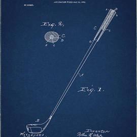 golf club patent drawing navy blue 3 - Bekim Art