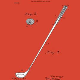 golf club patent drawing red 2 - Bekim Art