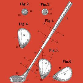 Bekim Art - golf club patent drawing red