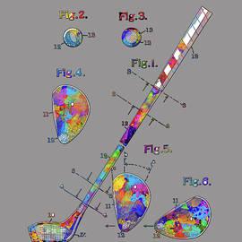 Bekim Art - golf club patent drawing watercolor 2