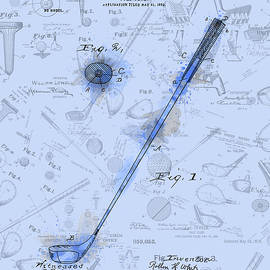 golf club patent drawing watercolor blue - Bekim Art