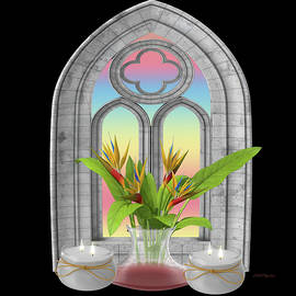 Gothic Window And Bird Of Paradise by Ericamaxine Price