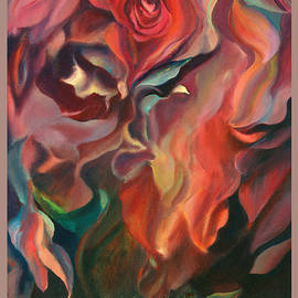 Grace and Desire - Original Floral Abstract Painting with Border and Title by Brooks Garten Hauschild