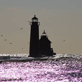 Grand Haven Lighthouse Sparkle by Michael Rucker