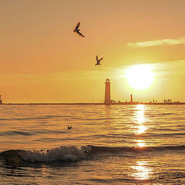 Grand Haven Lighthouse Sunset by Dan Sproul