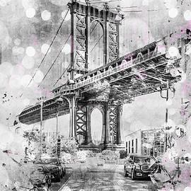 Graphic Art NEW YORK CITY Manhattan Bridge - Melanie Viola