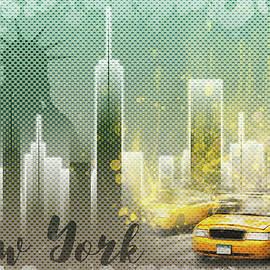 Graphic Art NEW YORK Mix No 6 - green and yellow - Melanie Viola