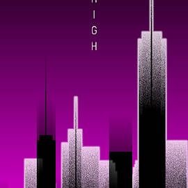 Melanie Viola - Graphic Art SKYHIGH PANORAMIC Lights - pink