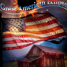 Great American Eclipse Flag and Barn Art by Debra and Dave Vanderlaan
