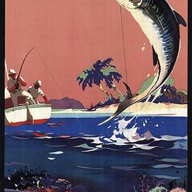 Great Barrier Coral Reef - Australia - Two Men Fishing - Retro travel Poster - Vintage Poster - Studio Grafiikka