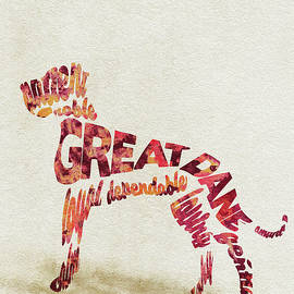 Great Dane Watercolor Painting / Typographic Art - Ayse and Deniz