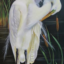 Phyllis Beiser - Great Egret In A Cattail Pond