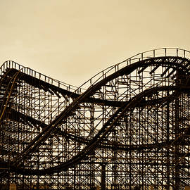 Great White Roller Coaster - Adventure Pier Wildwood NJ in Sepia by Bill Cannon