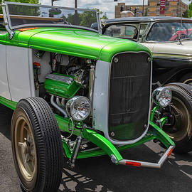 Green And White Roadster by Lorraine Baum