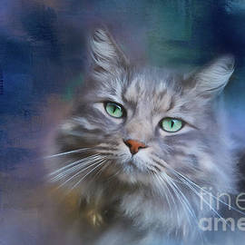 Michelle Wrighton - Green Eyes - Cat Art by Michelle Wrighton