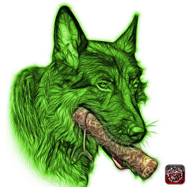 Green German Shepard And Toy - 0745 F by James Ahn