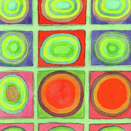 Heidi Capitaine - Green Grid filled with Circles and intense Colors