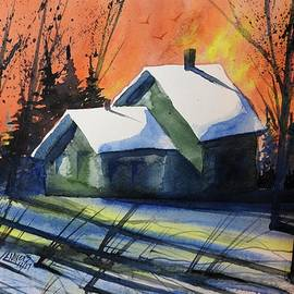 David K Myers - Green House, Watercolor