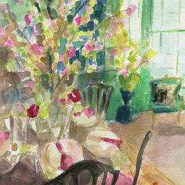 Green Interior With Cherry Blossoms by Beverly Brown