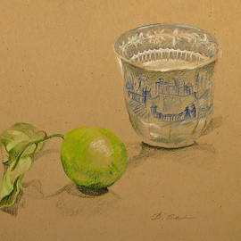 Green Lemon and Antique Cup by Bonnie See
