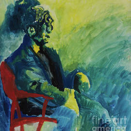 Liesl Walsh - Green Yellow and Blue Man in Red Chair