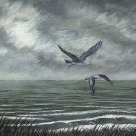 Grey Day Seascape by Philip Harvey