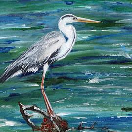 Grey Heron of Cornwall -painting by Veronica Rickard