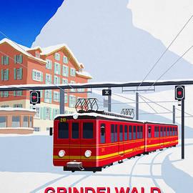 Grindelwald Ski Poster by Steve Ash