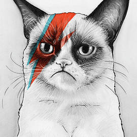Grumpy Cat as David Bowie by Olga Shvartsur