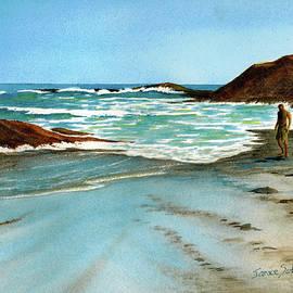 Janice Sobien - Guy Walking at Sundown, Laguna Beach