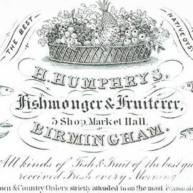 H Humphrys, Fishmonger and Fruiterer, trade card  - English School