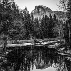 Gregory Ballos - Half Dome Sunset Reflection - Black and White Square - Yosemite