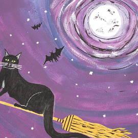 Halloween Flying  Black Cat by Jeffrey Koss