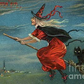 Halloween Witch and Black Cat Riding Broom at Night - American School