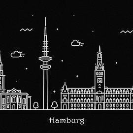 Hamburg Skyline Travel Poster - Inspirowl Design