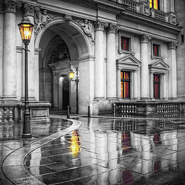 Hamburg Town Hall Courtyard in Black and White  by Carol Japp