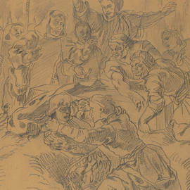 Hamlet and Laertes at the Tomb of Ophelia - Eugene Delacroix