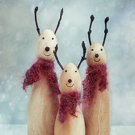 Hand Carved Wooden Reindeer Figures - Amanda Elwell