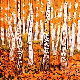 Irina Afonskaya - Hand painted picture, orange birch forest