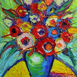 Ana Maria Edulescu - Happy Bouquet Of Poppies And Colorful Wildflowers On Round Yellow Table Impasto Abstract Flowers