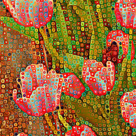 Happy Dots - Red Tulips by Miriam Danar