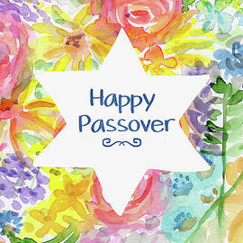 Happy Passover Floral- Art by Linda Woods - Linda Woods