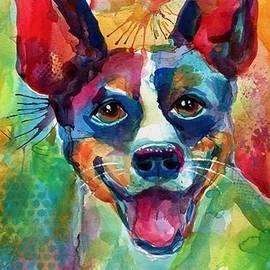 Happy Rat Terrier Watercolor Portrait