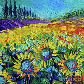 Mona Edulesco - HAPPY TOURNESOLS Modern Impressionist Impasto Palette Knife Oil Painting