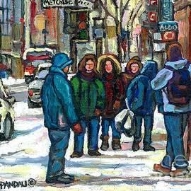 Original Downtown Montreal Winter Scene Paintings For Sale Achetez  Scenes De Rues Montreal Cspandau by Carole Spandau