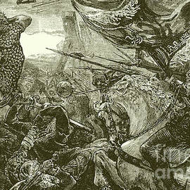 Harold at the battle of Hastings  - English School