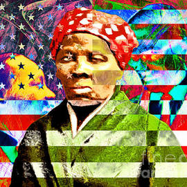 Harriet Tubman Martin Luther King Jr Malcolm X American Flag